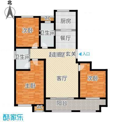 鲁邦・奥林逸城136.00㎡B户型 三室两厅两卫户型3室2厅2卫
