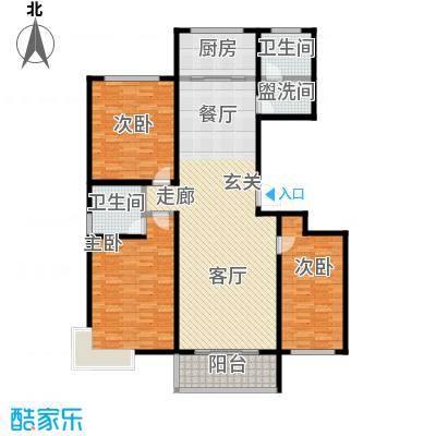 瓯江现代城145.00㎡B户型3室2厅2卫LL