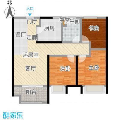 中海凤凰熙岸89.00㎡89平三室两厅一卫户型3室2厅1卫