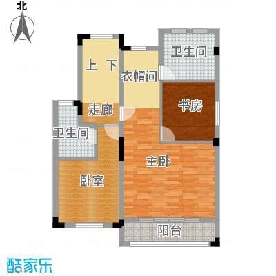 尚荟海岸87.71㎡a3二层户型2室2卫