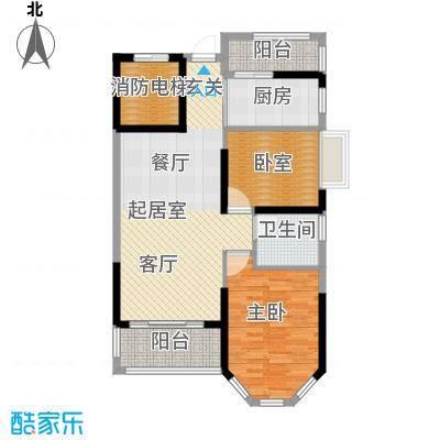 锦绣国际花城85.91㎡9幢5-15层01单元户型1室1卫1厨