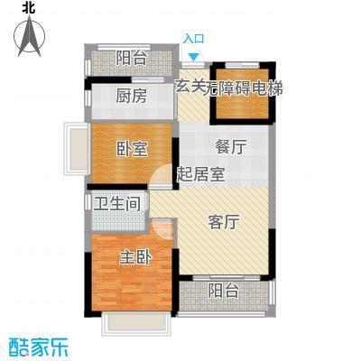 锦绣国际花城82.36㎡8幢5-14层02单元户型1室1卫1厨