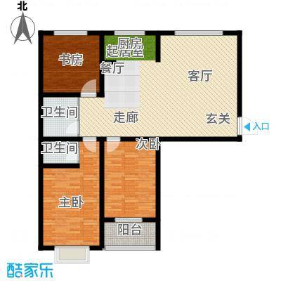盘古家园122.00㎡E户型3室2厅2卫