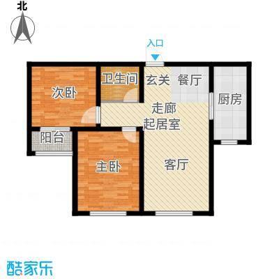 盘古家园85.00㎡D户型2室2厅1卫