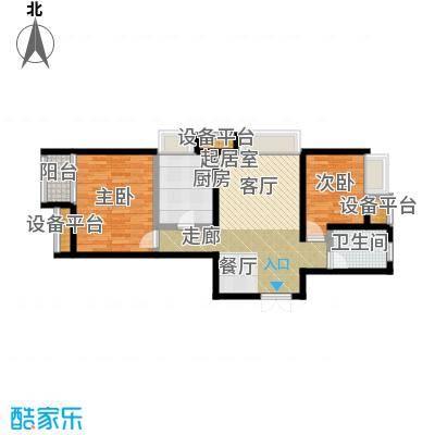 恒实新城市花园89.96㎡5-4-04户型二室二厅一卫89.96平米在售户型2室2厅1卫