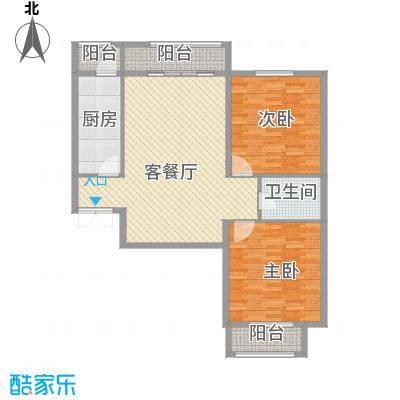 元和国际104.55㎡B3户型2室2厅1卫