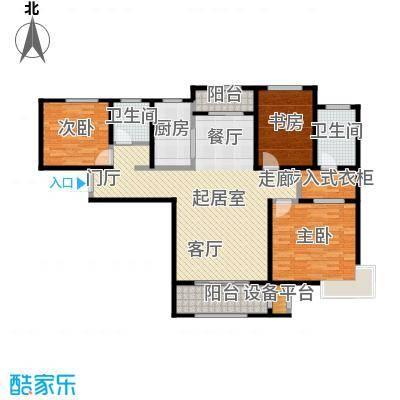 中铁・逸都国际130.00㎡C户型--三室两厅两卫户型3室2厅2卫