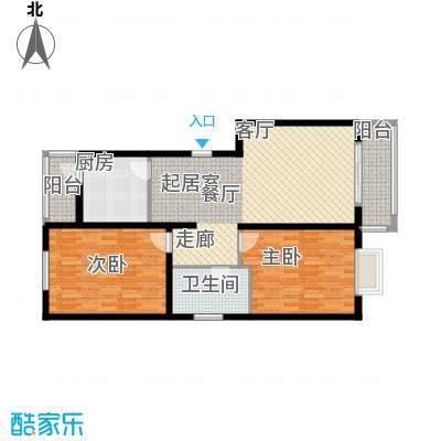 蓝湾华府100.00㎡100平两室两厅一卫户型2室2厅1卫