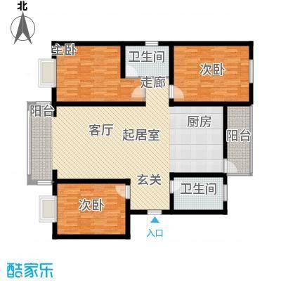 蓝湾华府121.00㎡蓝湾经典B户型3室2厅2卫户型3室2厅2卫
