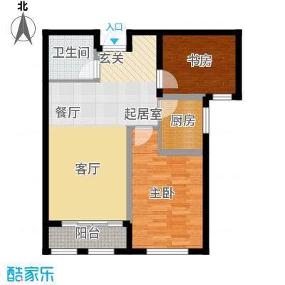 富城茗居二期85.43㎡6#7#G3-2户型2室2厅1卫