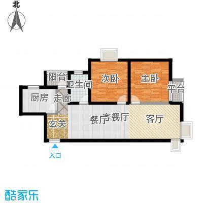 君域豪庭85.00㎡I1户型2室2厅1卫