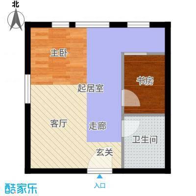 丁豪广场45.00㎡GHK住宅 两室一厅一卫户型2室1厅1卫