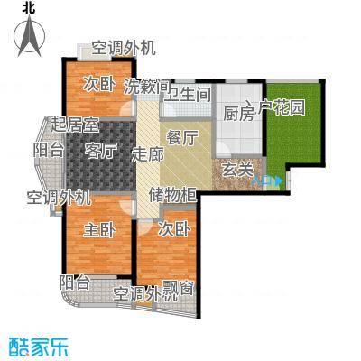 枫林湾129.00㎡A户型,三房两厅一卫,面积约129㎡户型3室2厅1卫