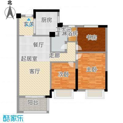 润园90.00㎡厅卧三朝南户型3室2厅1卫