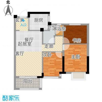 润园90.00㎡B户型图户型3室2厅1卫