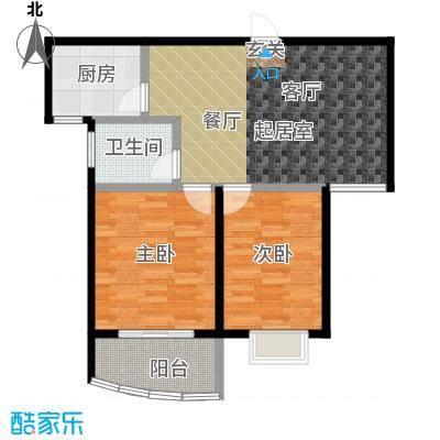 金猴北城名居户型2室1卫1厨