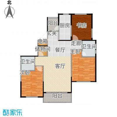 宝华城市花园三房二厅二卫,面积约123平方米户型