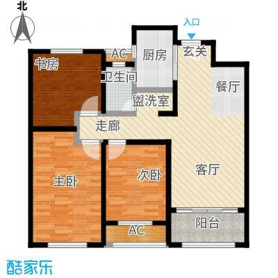 香榭水岸C户型85平米三室两厅一卫户型LL