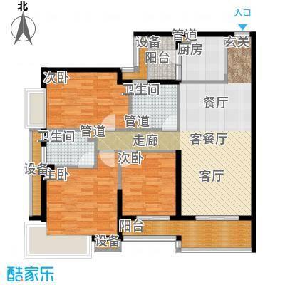 四季公寓120.00㎡F户型3室2厅1卫