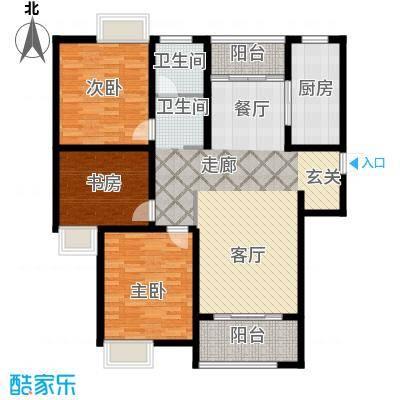 金信融城122.00㎡B户型三室两厅一厨一卫户型3室2厅1卫