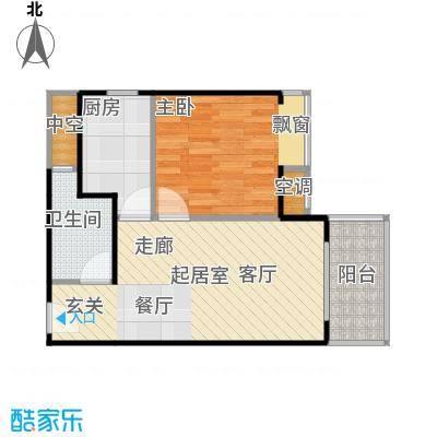 四季公寓57.00㎡D户型1室2厅1卫