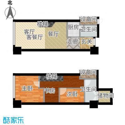 喜年中心74.00㎡A户型生活型户型3室2厅1卫