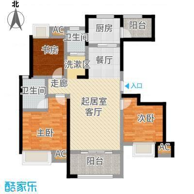 星海湾1号109.00㎡6#A户型 建筑面积约109㎡ 三房两厅两卫两阳台户型3室2厅2卫