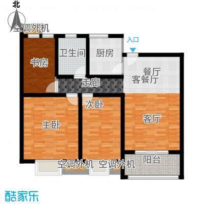 上海花园102.40㎡E1 三室两厅一卫 102.4平米户型3室2厅1卫