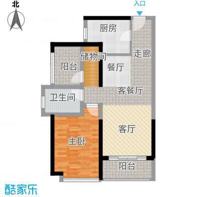 坪山招商花园城76.40㎡04户型1室1厅1卫1厨