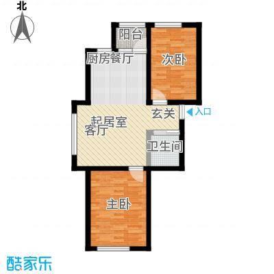 宝丰阁壹�院89.00㎡C户型2室1厅1卫 89.00m2户型2室1厅1卫