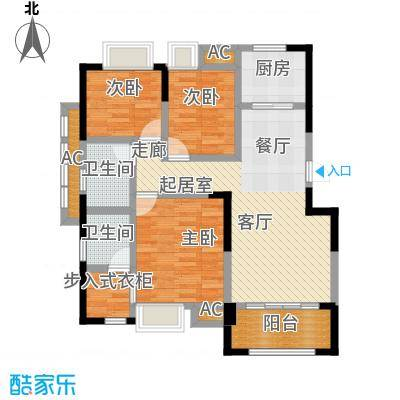 星海湾1号109.00㎡3#A户型 建筑面积约109㎡ 三房两厅两卫一阳台户型3室2厅2卫