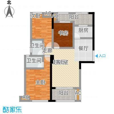 星海湾1号1#B户型 建筑面积约106㎡ 三房两厅两卫两阳台户型3室2厅2卫