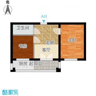 华远龙湾46.25㎡项目2室1厅1卫1厨46.25㎡户型2室1厅1卫