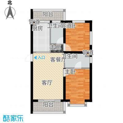 祥瑞府邸68.69㎡二居一厅68.69平方米户型