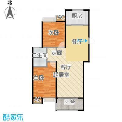 保利上河雅颂91.00㎡23号楼B5二室二厅一卫户型