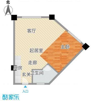 上城左岸69.00㎡三期户型图3F户型1室1厅1卫