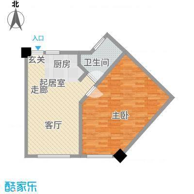 上城左岸69.00㎡三期户型图3E户型1室1厅1卫