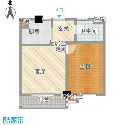 上城左岸59.00㎡三期户型图2D户型1室1厅1卫