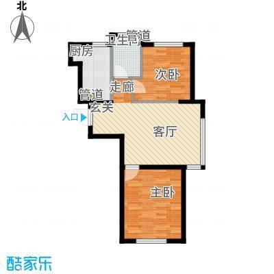 龙腾碧玉湾79.43㎡二室二厅一卫户型