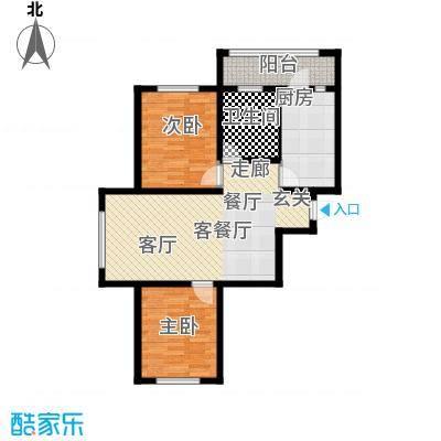 富佳新天地J户型2室2厅1卫 使用面积67.37平米户型2室2厅1卫