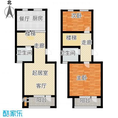 国际城月伴湾135.00㎡G户型-跃层户型3室2厅2卫