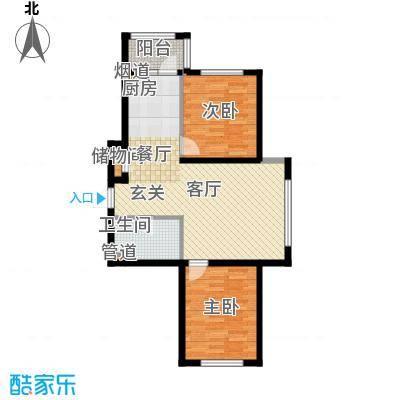 富佳新天地D户型2室1厅1卫 使用面积58.60平米户型2室1厅1卫
