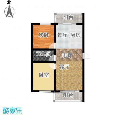 富佳新天地项目使用面积71.26平米户型图户型2室1厅1卫