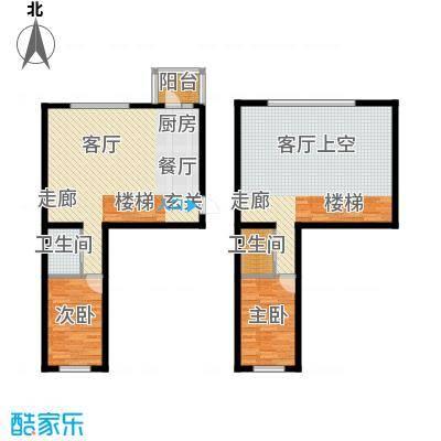 富佳新天地86.22㎡二室一厅二卫86.22平方米户型