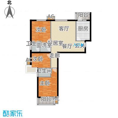 恒星花园113.61㎡F户型三室两厅两卫户型3室2厅2卫