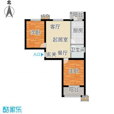 恒星花园82.93㎡E户型两室两厅一卫户型