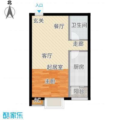 恒星花园46.72㎡D户型一室一厅一卫户型1室1厅1卫