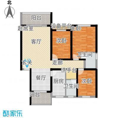 安康丰景佳园二期122.27㎡三室两厅两卫户型