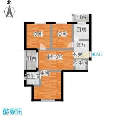 幸福港湾73.18㎡三室两厅一卫D户型3室2厅1卫