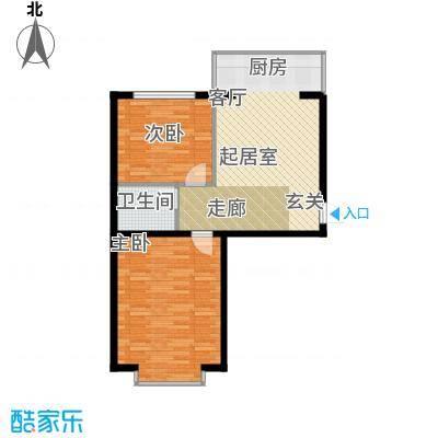 柒季城73.84㎡项目2室1厅1卫1厨73.84㎡户型2室1厅1卫
